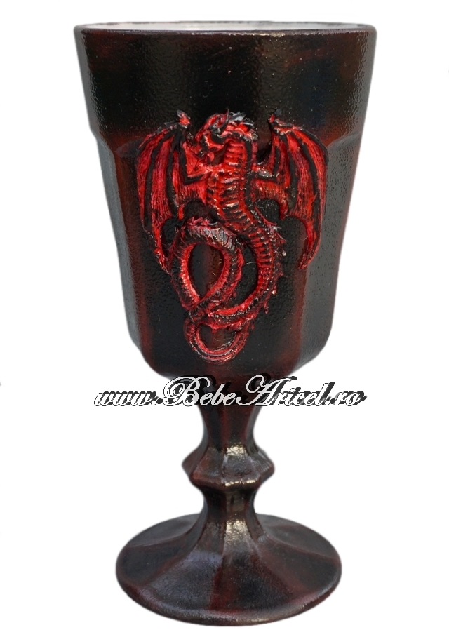 Pocal de sticla decorat handmade DRAGON - Game of Thrones